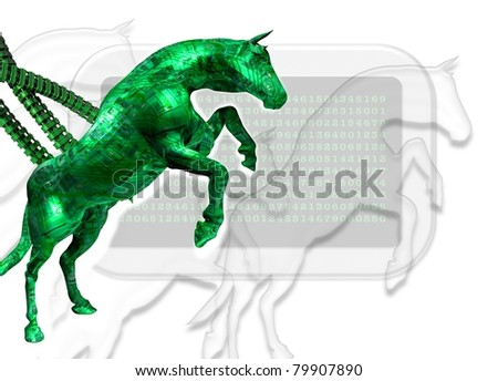 Conceptual image displaying the infection of a computer by what is know as a trojan horse virus program. - stock photo