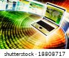 Conceptual image for Internet with laptop flashing a website screen rapidly. - stock photo
