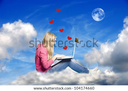 conceptual image for the modern, internet era romance - stock photo