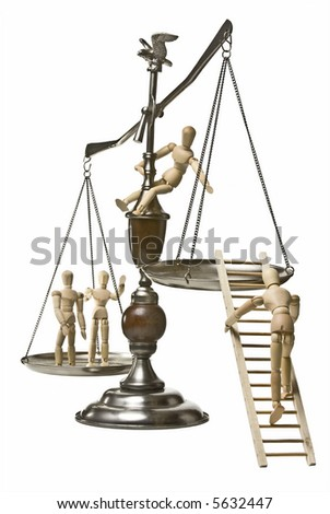 Conceptual image for the struggle for equal rights.  Scales of justice with mannequins climbing onto the scales.  Two on one side, 1 climbing a ladder onto the near side, and 1 perched on the scale - stock photo