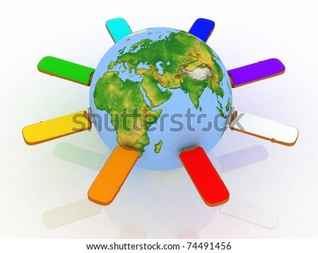 Conceptual image - global communication - stock photo