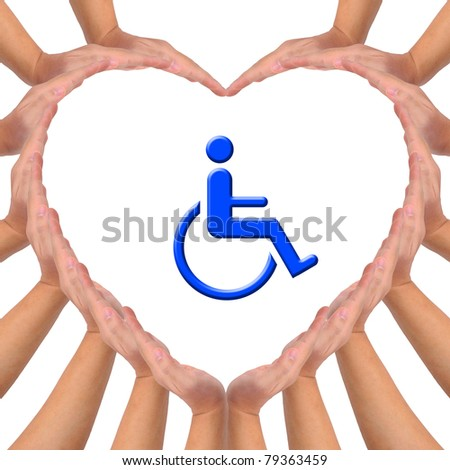 Conceptual image, Love handicapped person. Hands making a heart shape on white background with blue wheelchair icon in the middle. - stock photo