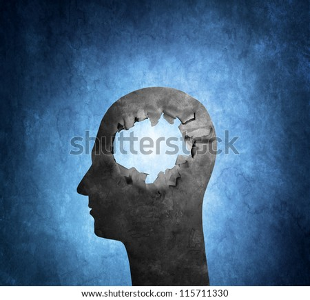 Conceptual image of a cardboard head with a hole. - stock photo