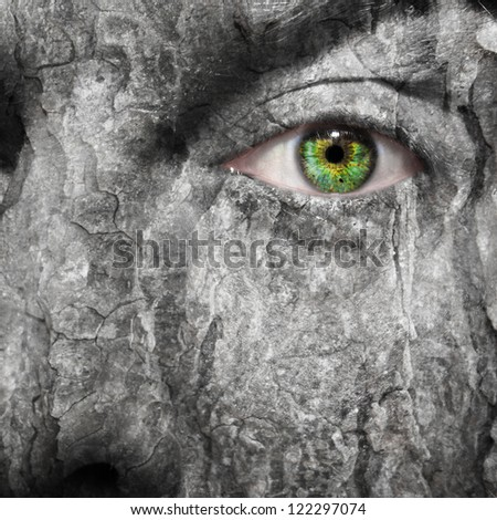 Conceptual image of a face with a scared grey skin - stock photo