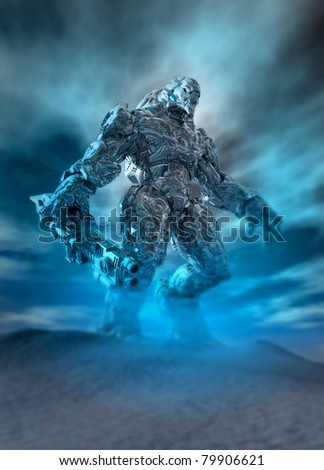 Conceptual image of a future soldier with a stealth exoskeleton suit on in the battlefield. - stock photo