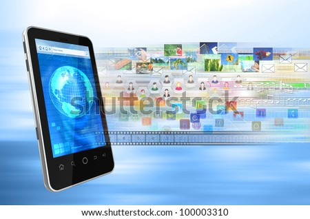 Conceptual image of a generic smartphone browser connects to internet to share multimedia files, song, picture, application, image, data, emails, video, contact etc - stock photo