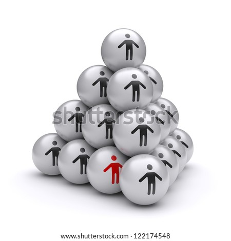 Conceptual image of a hidden teamwork leader at the bottom of the pyramid. 3d image - stock photo