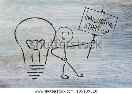 conceptual image of a knowledgeable man holding a sign about an innovative star-up - stock photo