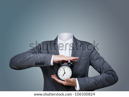 Conceptual image of a no head woman , lots of copy space - stock photo