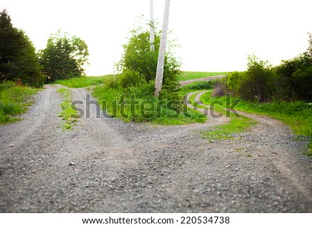 Conceptual image of a path that splits in two and a choice must be made. - stock photo