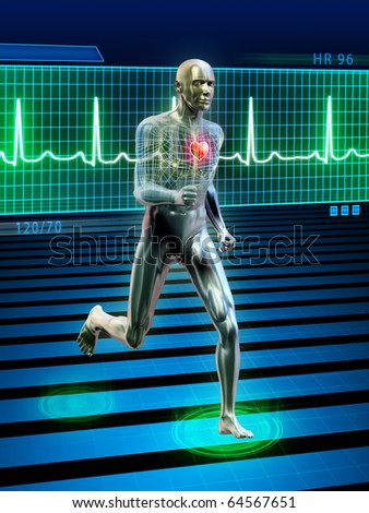 Conceptual image of a running man and its heart rhythm. Digital illustration. - stock photo