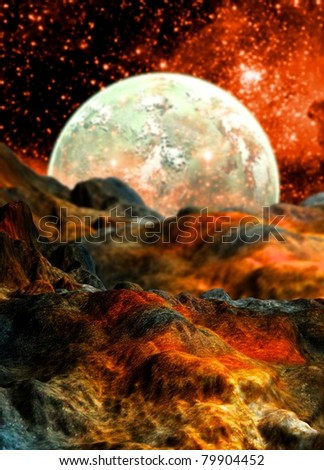 conceptual image of alien planet surface with moon on the horizon. - stock photo