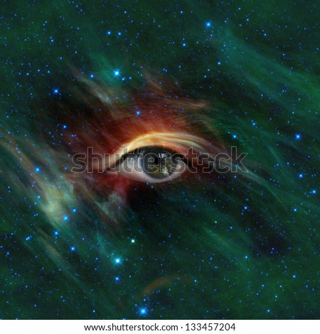 Conceptual image of an eye looking through a nebula in the Galaxy. Elements of this image furnished by NASA. - stock photo