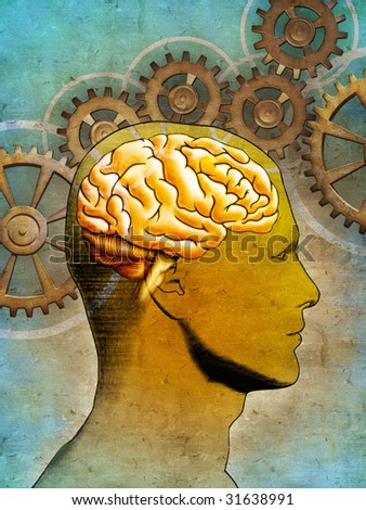 Conceptual image of an human head and some gear-work. Digital illustration. - stock photo