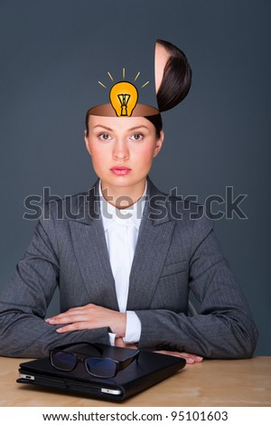 Conceptual image of an open minded business woman - stock photo