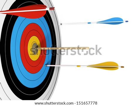 Conceptual image of an outsider, with one basic wooden arrow hitting the center of a target.