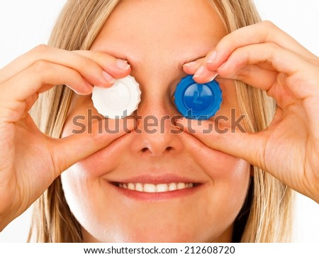 Conceptual image of applying correctly contact lenses. - stock photo