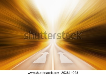 Conceptual image of asphalt road and dual direction arrow - stock photo