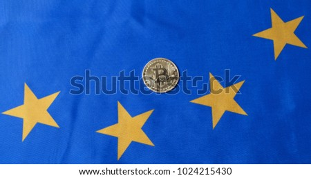 Conceptual image of bitcoin against European Union flag