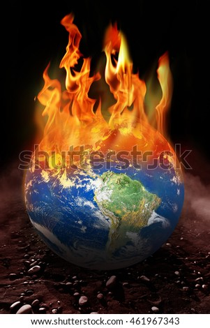 conceptual image of burning globe. Furnished NASA image used for this image