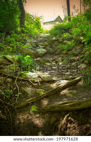 Conceptual image of Dark hiking path through the woods leading toward cabin and light