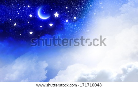 Conceptual image of day and night sky - stock photo