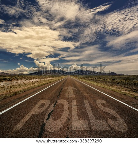 Conceptual image of desert road with the word polls and arrow