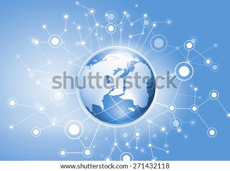 Conceptual image of digital planet with connection lines - stock photo