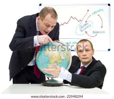 Conceptual image of discovering the potential of global business and gaining confidence in it. - stock photo