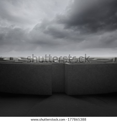 Conceptual image of entrance to round white labyrinth - stock photo