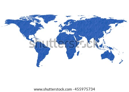 conceptual image of flat world map and binary code. NASA flat world map image used to furnish this image.