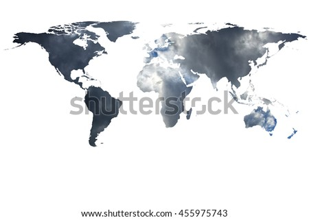 conceptual image of flat world map and smoke. NASA flat world map image used to furnish this image.