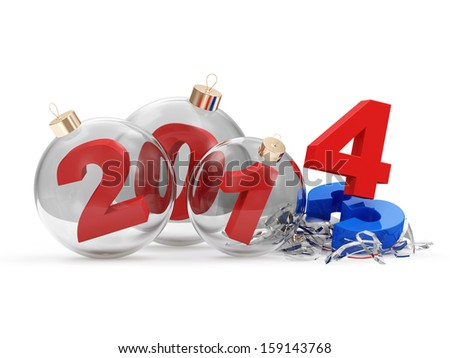 Conceptual image of Glass Christmas Balls 2014 isolated on white background - stock photo
