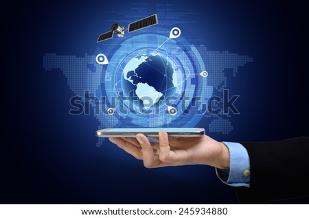 Conceptual image of Global Positioning System GPS on smart phone - stock photo