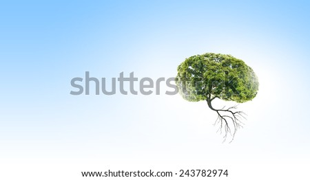 Conceptual image of green tree shaped like brain - stock photo