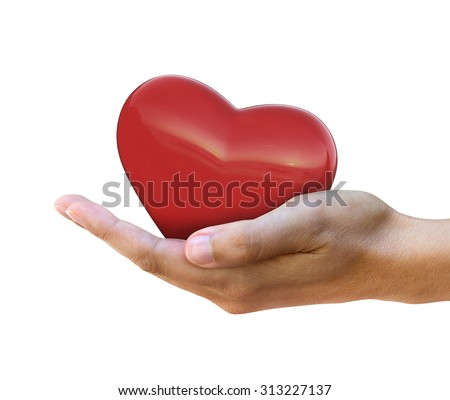 Conceptual image of heart in hand isolated over white
