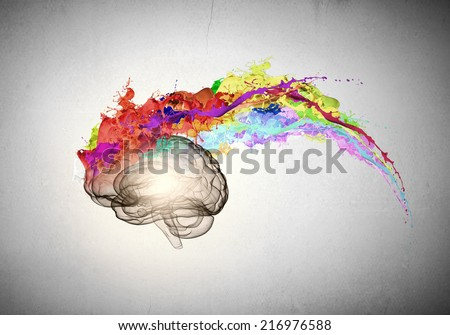 Conceptual image of human brain in colorful splashes - stock photo