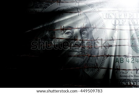 conceptual image of hundred dollar bill
