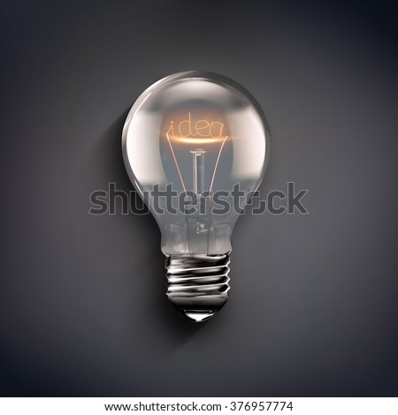 conceptual image of idea with a light bulb on gray background
