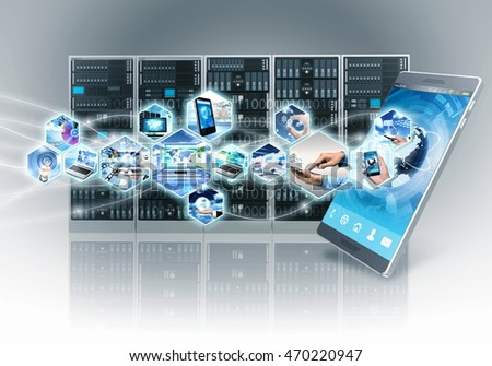Conceptual image of internet and information technology with smart phone and server