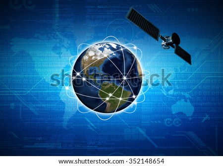 Conceptual image of internet connection and communication at worldwide scale with satellite orbiting above earth - stock photo