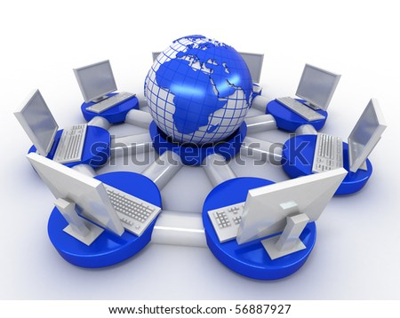 Conceptual image of internet. 3d