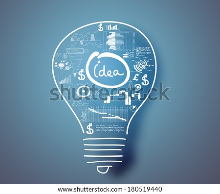 Conceptual image of light bulb and business strategy sketch