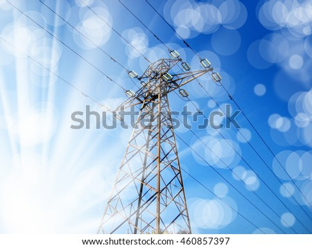 conceptual image of power lines and light