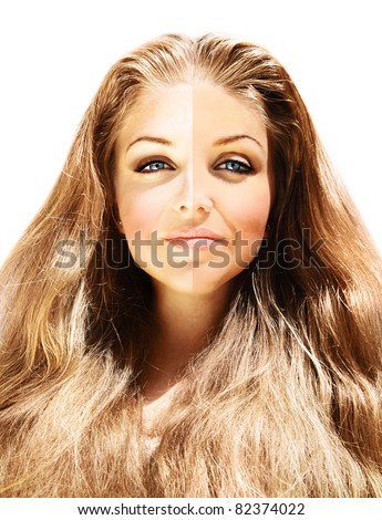 Conceptual image of skin tone, beautiful female face close up with skin color effect, isolated on white background, skin complexion