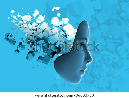 Conceptual image of woman's face and abstract technology.