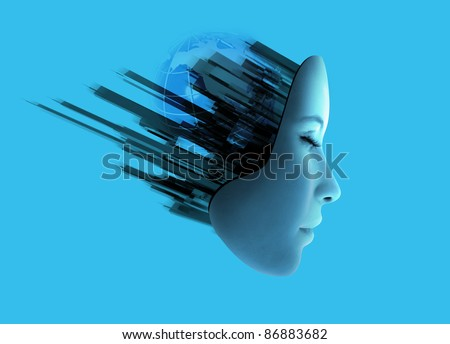 Conceptual image of woman's face with abstract technology coming out of her head.