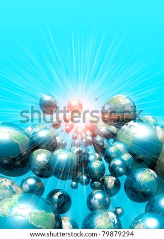 Conceptual image on the possibility of multiple earths and timelines in space - stock photo
