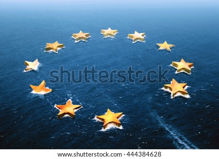 Conceptual image representing a drifting European Union and an empty space left by the Brexit - stock photo