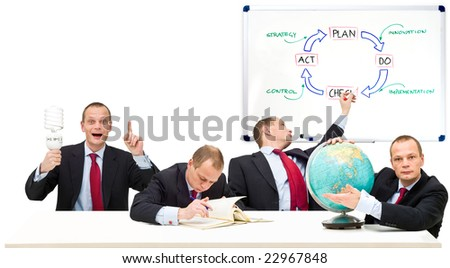 Conceptual image running a privately owned business, developing strategy in innovation. From left to right: Plan, Do, Check, Act. The strategic principle of the Deming Circle - stock photo